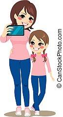selfie, fille, mère
