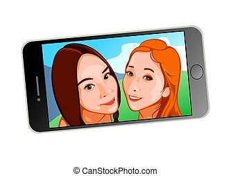 selfie, filles