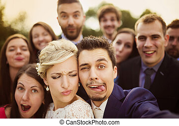 selfie, friends, nehmen, jungvermählten