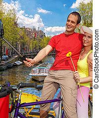 selfie, gegen, kanal, in, amsterdam, netherlands