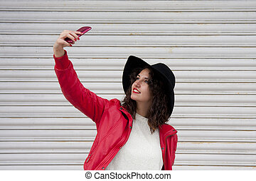 selfie girl on the street