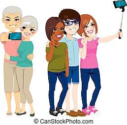 selfie, grupp, folk