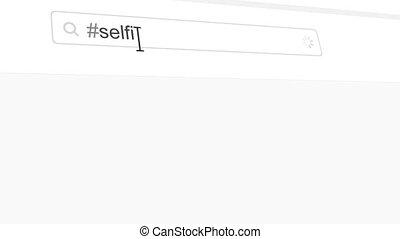 Selfie hashtag search through social media posts