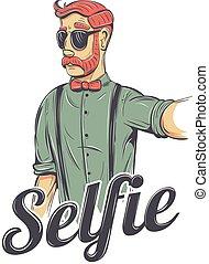 Selfie hipster illustration