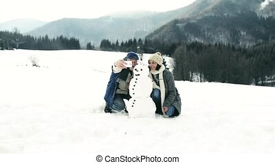 selfie, hiver, prendre, nature., couples aînés