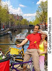 selfie, holland, paar, boeiend, amsterdam