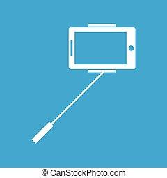 Selfie icon on blue
