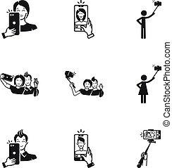Selfie icon set, simple style
