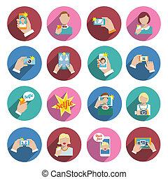 Selfie Icons Flat - Selfie self portrait smartphone camera...
