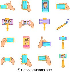 Selfie icons set, cartoon style