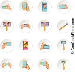 Selfie icons set, cartoon style.