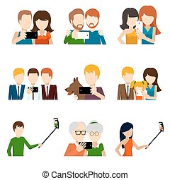 Selfie icons set in flat design style