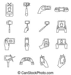 Selfie icons set, outline style