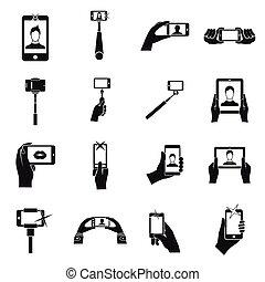 Selfie icons set, simple style