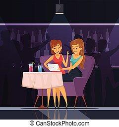 Selfie In Cafe Illustration