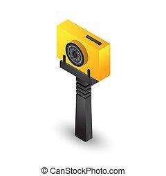 selfie, jaune, appareil photo, trépied, action, crosse