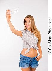 selfie, jeune, mignon, confection, photo, femme