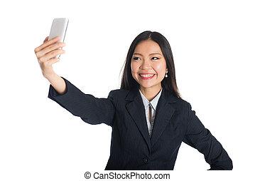 selfie, kobieta, asian handlowy
