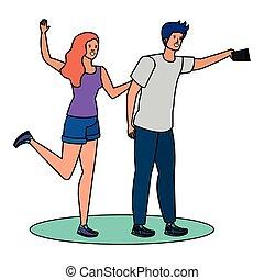selfie, kochankowie, para, wpływy, młody