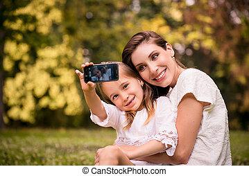 selfie, mère, enfant
