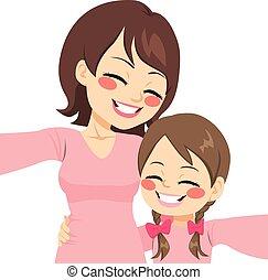 selfie, mère, fille