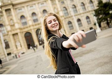selfie, mulher, rua, jovem, teking
