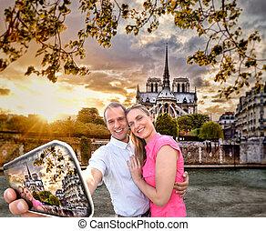 selfie, notre, boeiend, parijs, frankrijk, kathedraal, paar, mokkel