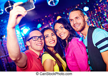Selfie of friends - Young people taking selfie at party