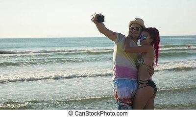 selfie, párosít, birtoklás, tengerpart, móka, tengerpart, bevétel, homokos