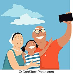 selfie, papy, grand-maman