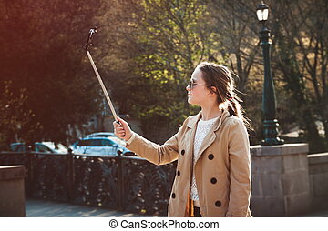selfie, parc, jeune fille