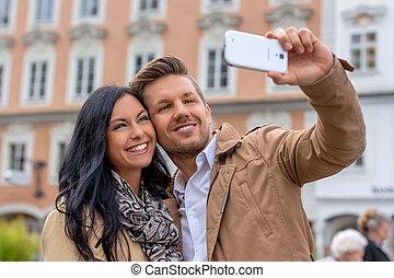 selfie, pareja