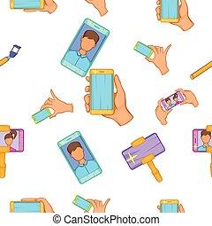 Selfie pattern, cartoon style