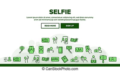 Selfie Photo Camera Landing Header Vector