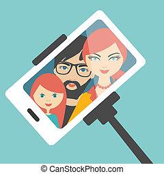 selfie, photo., famille