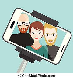Selfie photo. Vector cartoon illustration.
