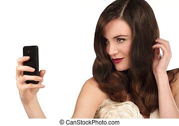 selfie, piękny, smartphone, kobieta, wpływy