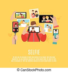 Selfie pictures flat icons composition poster