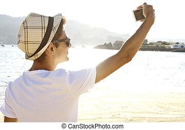 selfie, plage