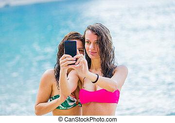 selfie, plage, temps