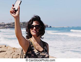 selfie, porträt, von, schöne , 35, jahre alt, frau