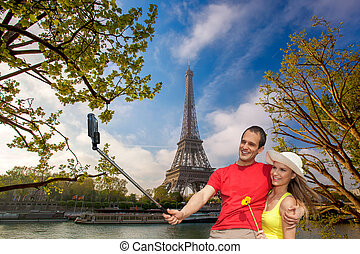 selfie, prendre, eiffel, paris, france, tour, couple