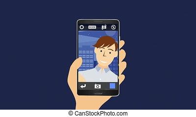 selfie, prendre, images, homme