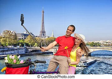 selfie, presa, eiffel, parigi, francia, torre, coppia