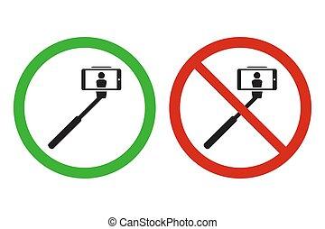 selfie, señales, palo, prohibido, permitido