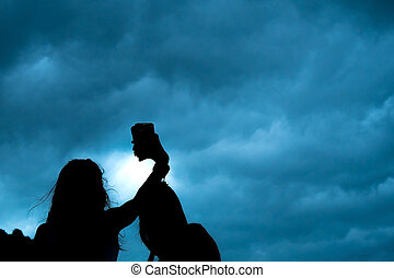 selfie, silhouette