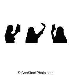 selfie silhouette with smartphone and three young girls