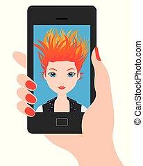 selfie, smartphone, 若い 女の子
