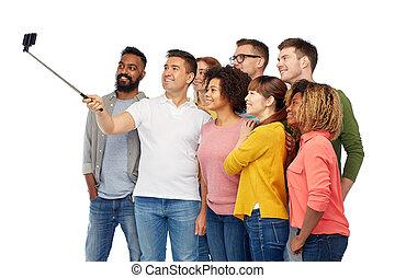 selfie, smartphone, grupo, toma, gente