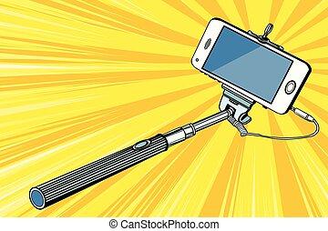 selfie, smartphone, tir, crosse